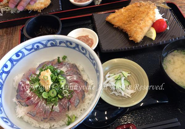 活アジ丼とアジフライ
