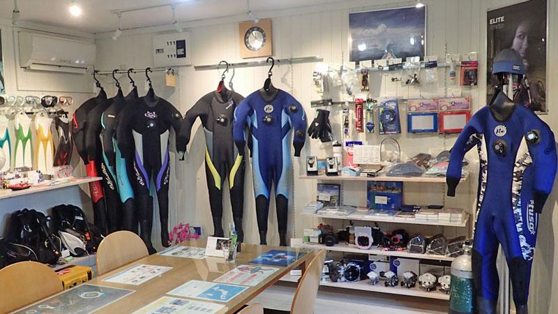 名古屋のダイビングショップサニーベイルの店内写真